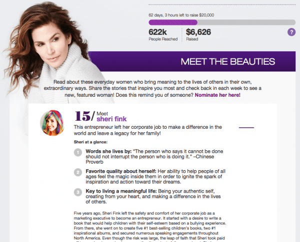Cindy Crawford's Meaningful Beauty Beauties Give Back: Sheri Fink